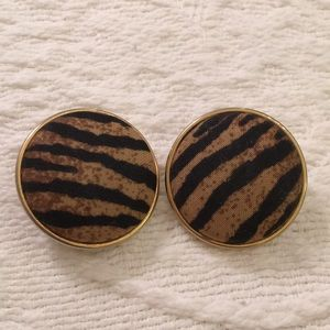 Animal print vintage dome fabric earrings